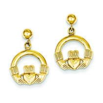 Dangling Claddagh Post Earrings in 14k Yellow Gold