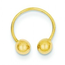Single Beaded Half Hoop Screw back Earrings in 14k Yellow Gold
