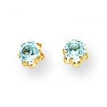 Aquamarine Mar Screw back Earrings in 14k Yellow Gold