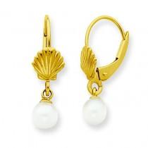 Shell W Freshwater Cultured Pearl Leverback Earrings in 14k Yellow Gold