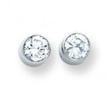 Bezel Set CZ Post Earrings in 14k White Gold