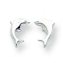 Sm Dolphin Earrings in 14k White Gold