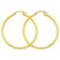 Diamond Cut Round Tube Hoop Earrings in 14k Yellow Gold