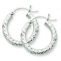 Diamond Cut Round Hoop Earrings in 14k White Gold