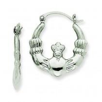 Claddagh Hoop Earrings in 14k White Gold