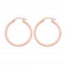 Rose Gold D C Hoop Earrings in 14k Rose Gold