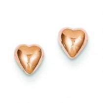 Rose Gold Heart Post Earrings in 14k Yellow Gold