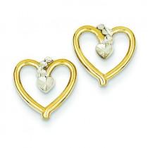 Rhodium Diamond Cut Heart Post Earrings in 14k Yellow Gold