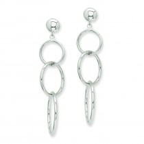 Triple Ring Dangle Post Earrings in 14k White Gold