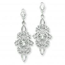 Diamond Cut Filigree Dangle Earrings in 14k White Gold