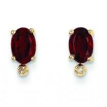 Diamond Garnet Diamond Earrings in 14k Yellow Gold (0.018 Ct. tw.)