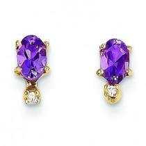 Diamond Amethyst Birthstone Earrings in 14k Yellow Gold (0.018 Ct. tw.)