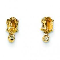 Diamond Citrine Birthstone Earrings in 14k Yellow Gold (0.018 Ct. tw.)