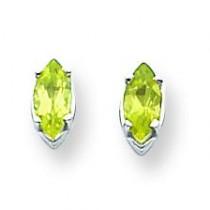 Peridot Diamond Marquis Stud Earring in 14k White Gold