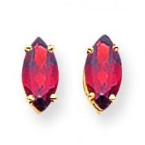 Garnet Diamond Marquis Stud Earring in 14k Yellow Gold