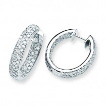Diamond In Out Hinged Hoop Earrings in 14k White Gold