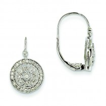Diamond Leverback Earrings in 14k White Gold