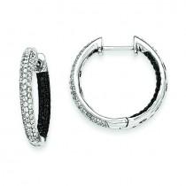 Black And White Diamond Hinged Hoop Earrings in 14k White Gold