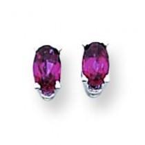 Rhodalite Garnet Diamond Oval Stud Earring in 14k White Gold