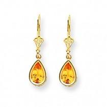 Pear Citrine Leverback Earrings in 14k Yellow Gold