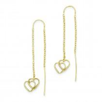 Double Heart Threader Earrings in 14k Yellow Gold
