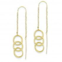 Triple Circle Threader Earrings in 14k Yellow Gold
