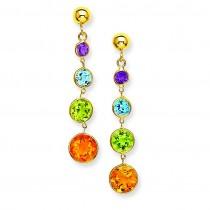 Muti Gemstone Dangle Post Earrings in 14k Yellow Gold