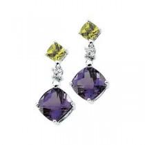 Gemstone Diamond Earrings in 14k White Gold (0.06 Ct. tw.) (0.06 Ct. tw.)
