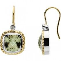 Green Quartz Diamond Earrings in 14k Yellow Gold & Sterling Silver (0.06 Ct. tw.)