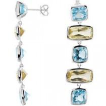 Topaz Lime Quartz Earrings in Sterling Silver