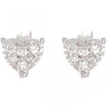 Diamond Heart Earrings in 14k White Gold (0.16 Ct. tw.) (0.16 Ct. tw.)