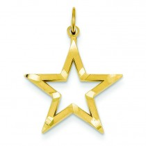 Diamond Cut Star Charm in 14k Yellow Gold