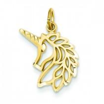 Unicorns Head Pendant in 14k Yellow Gold