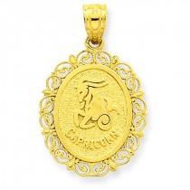 Capricorn Zodiac Oval Pendant in 14k Yellow Gold