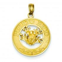 Puerto Rico Frog Pendant in 14k Yellow Gold