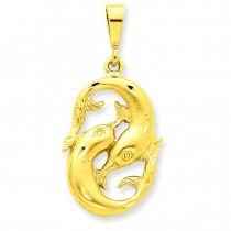Pisces Zodiac Charm in 14k Yellow Gold