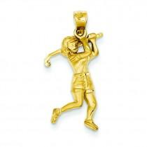 Female Golfer Pendant in 14k Yellow Gold