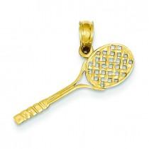Tennis Racquet Pendant in 14k Yellow Gold