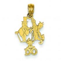 I Do Bride Groom Pendant in 14k Yellow Gold