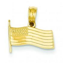 American Flag Pendant in 14k Yellow Gold