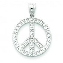 White Peace Symbol Pendant in 14k White Gold