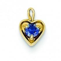 September Birthstone Heart Charm in 14k Yellow Gold