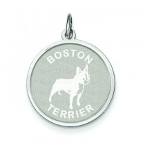 Boston Terrier Disc Charm in Sterling Silver