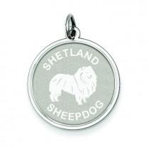 Shetland Sheepdog Disc Charm in Sterling Silver