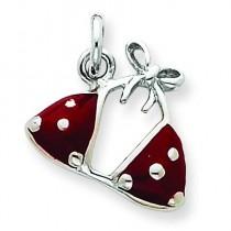 Red Bikini Top Charm in Sterling Silver