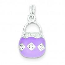 Purple Purse Charm in Sterling Silver