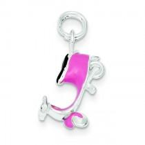 Pink Enamel Motor Scooter Charm in Sterling Silver