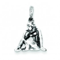 Antiqued Virgo Pendant in Sterling Silver