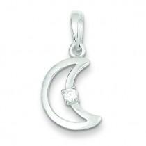 CZ Moon Pendant in Sterling Silver
