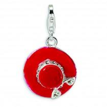 CZ Enamel Hat Lobster Clasp Charm in Sterling Silver